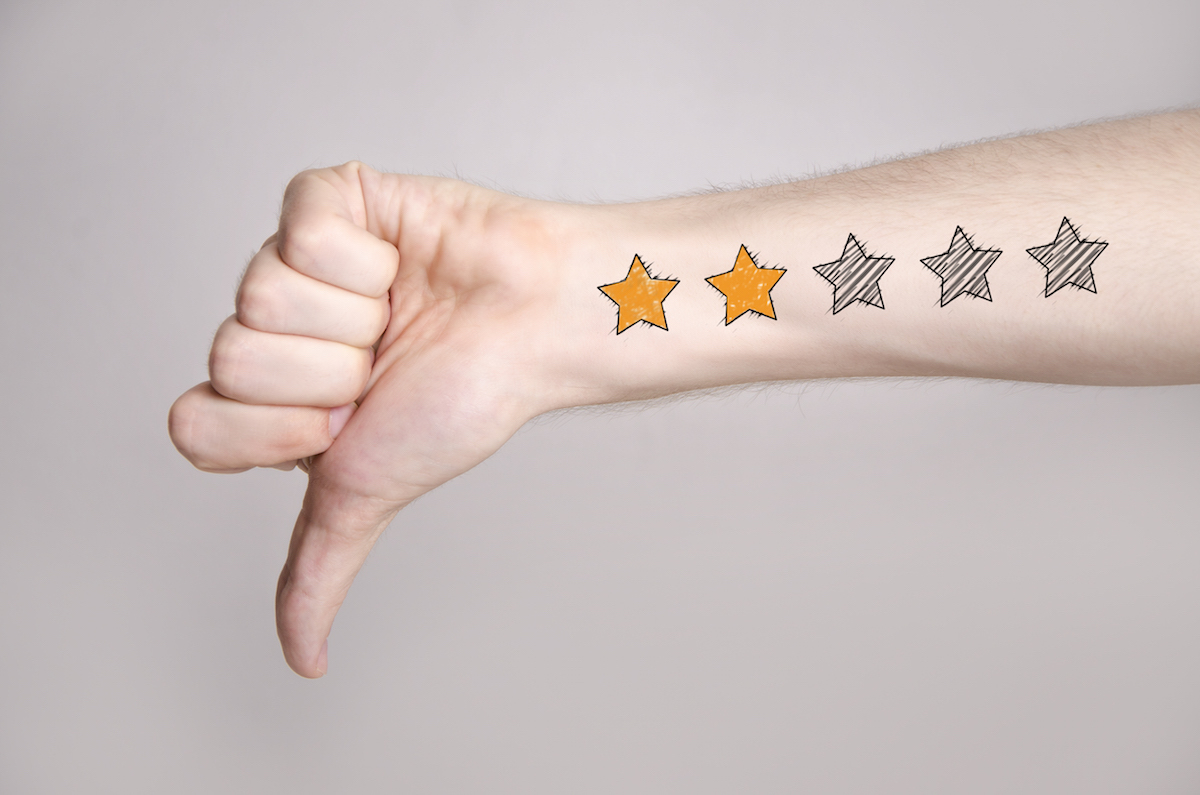 2StarsThumbsDown-Bad-Service-Positively-Outrageous-Service